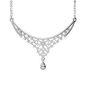 White Gold 14K New Ladies Chain Necklace Round Cut